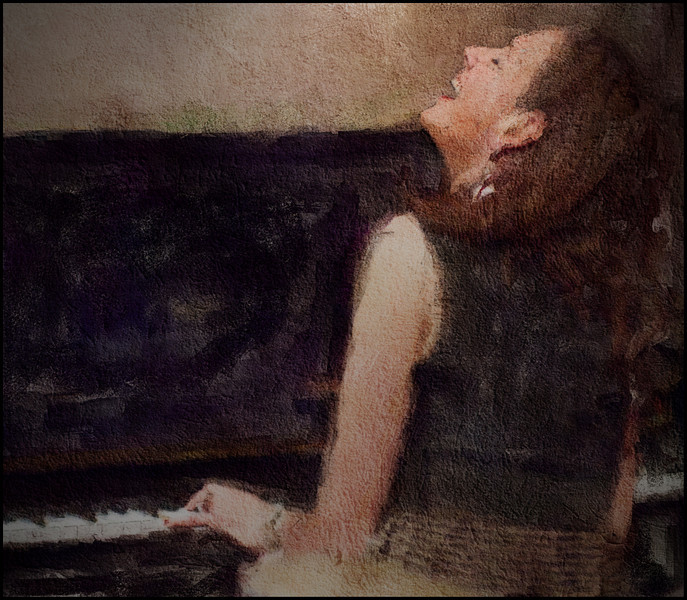 Piano Lift.<br /> Photo painted with digital sargent brush in watercolor + texture layers.<br /> Susi Hyldgaard: piano at Jazz Cup, Copenhagen, Denmark.