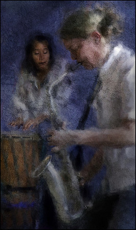 """Easy Touch, Full Breath. Marilyn Mazur: percussion and Lotte Anker: sax at <a href=""""https://www.facebook.com/Cafecharlottenborg""""target=""""_blank"""">Charlottenborg</a>, Copenhagen. Composite photo painted with digital impressionist chalk brush in Corel Painter + texture layers."""