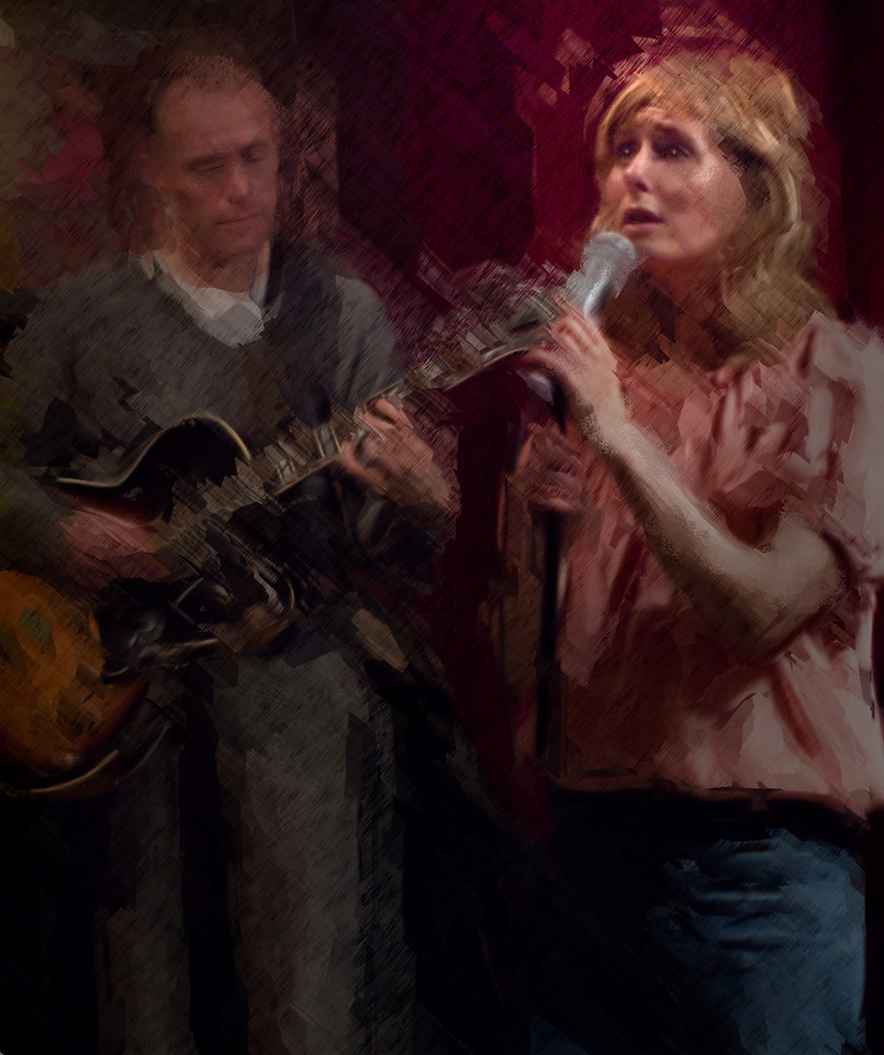 Fly Me to the Moon.<br /> Vocalist Cathrine Legardh with guitarist Jacob Fisher at Jazzcup, Copenhagen, Denmark.<br /> Photo painted with digital caligraphy brush in Corel painter.