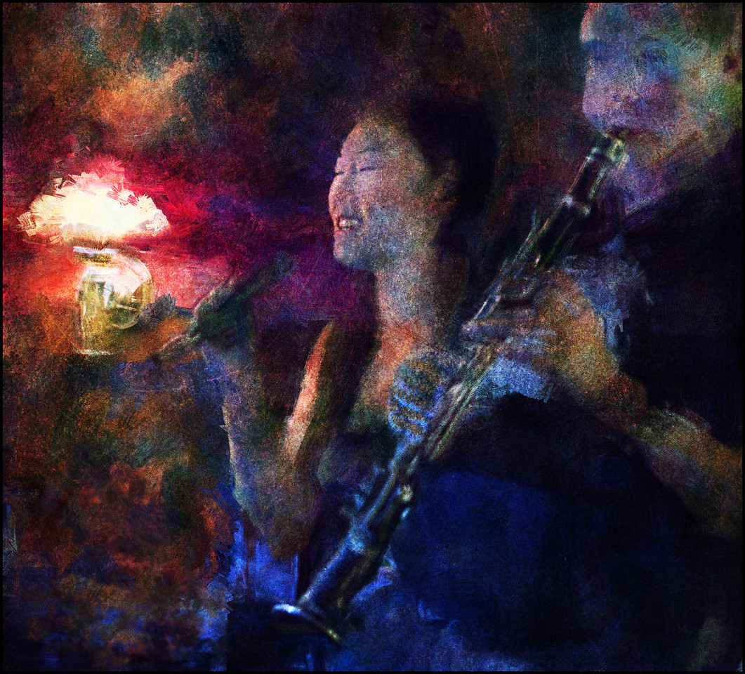 Late Light Blues.<br /> Birgitte Soojin: vocal and Chris Tanner: clarinet at Bobi Bar, Copenhagen, Denmark.<br /> Photo painted with digital smeary oil brush + texture layers.