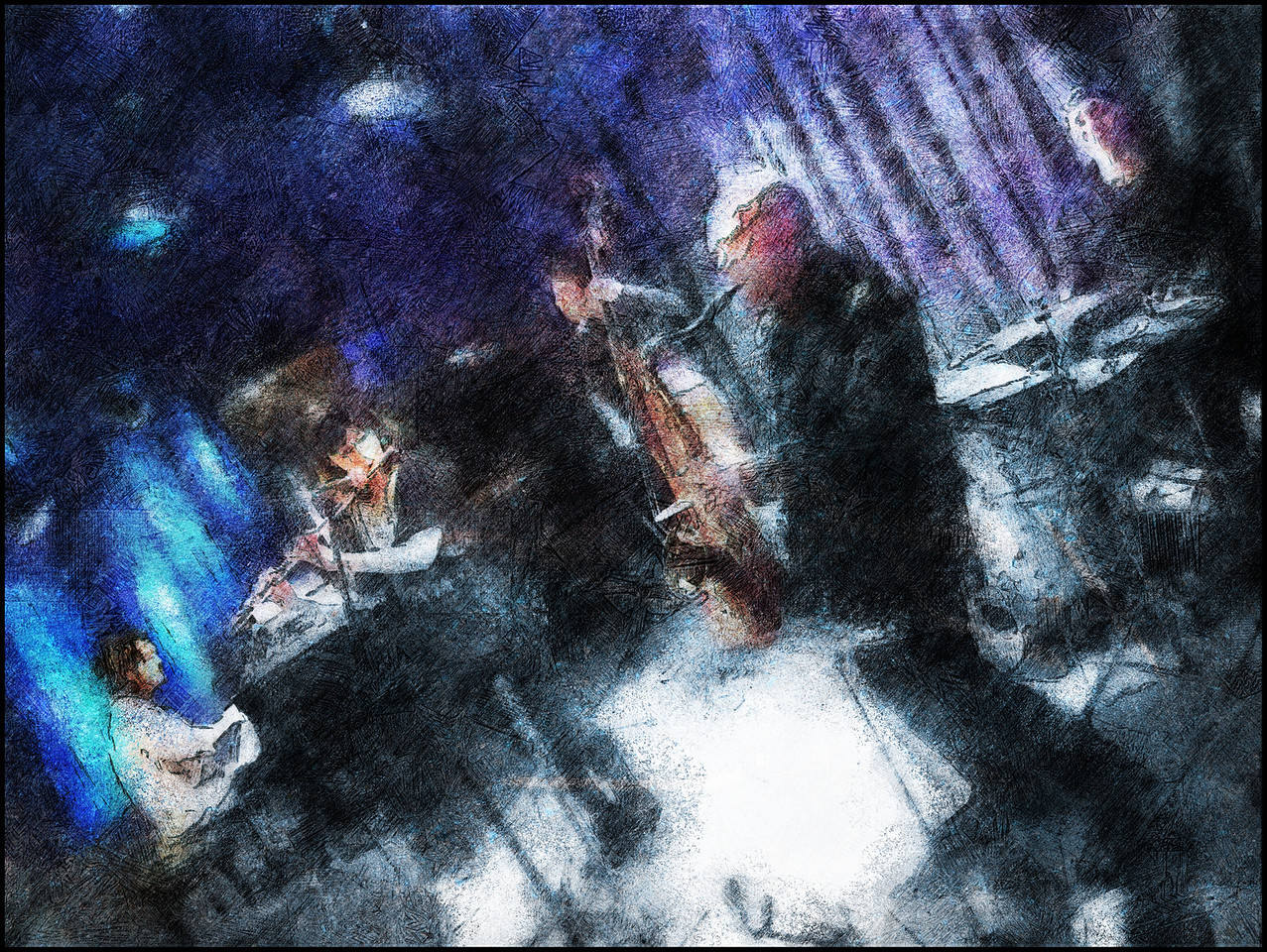 Grey to Blue.<br /> Grey to Blue Band: Mikako Hirabayashi: piano -  Mairane Bitran: flute - Erik Olevik: bass - Bob Rockwell: sax and Niclas Campagnol:drums at Paradise Jazz Club, Copenhagen.<br /> Photo painted with digital pencil in Corel Painter + texture layers.