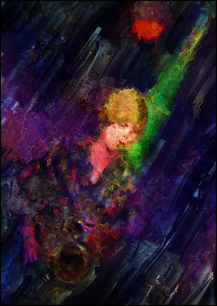Green Note.<br /> Sax player Signe  Dahlgren at Metronomen, Copenhagen.<br /> Photo painting with diigtal sargent brush i9n Corel Painter + texture layers.