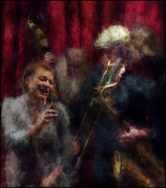 The Girl in Focus.<br /> Lone Selmer, vocal, Hugo Rasmussen, bass, Mads Hyhme, trombone and Jakob Dinesen, sax at JazzCup, Copenhagen.<br /> Photo painted with digital chalk brush in Corel Painter + texture layers.
