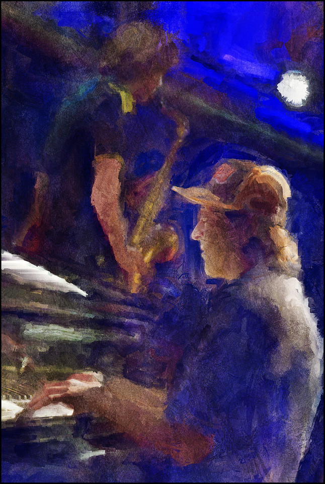"Piano Spot. Ben Besiakov: piano and Jacob Dinesen: sax at <a href=""http://www.paradisejazz.dk/""target=""_blank"">Paradise Jazz</a>, Huset, Copenhagen. Photo painted with digital sargent brush in Corel Painter + texture layers."