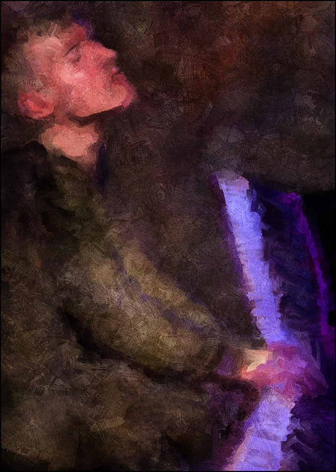 Piano Bender.<br /> Mathias Savery: piano at Metronomen, Copenhagen. <br /> Composite photo painted with digital impressionist sargent brush in Corel Painter + texture layers.