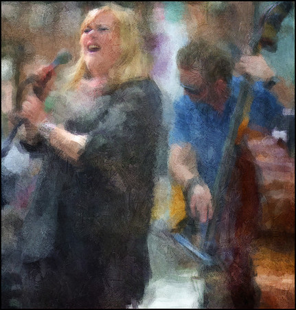 Maria Carmen Koppel.<br /> Maria Carmen Koppel: vocal and Morten Ramsbøl: bass at Spinderiet, Copenhagen.<br /> Photo painted with digital impressionist chalk brush in Corel Painter + texture layers.