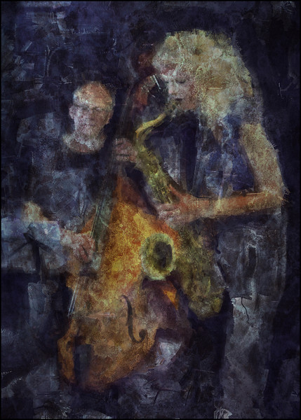 Bare Bass, Hairy Sax,<br /> Jesper Lundgaard: bass and Christina Dahl: sax at Drop Inn during the 2011 Copenhagen Jazz Festival.<br /> Photo painted with diigtal sargent brush in corel painter + texture layers.