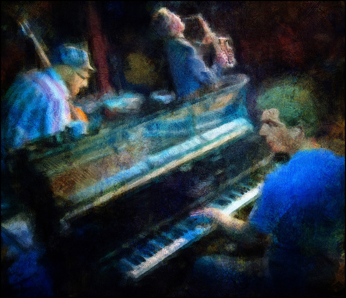 Piano Colors.<br /> Carsten Dahl: piano - Jesper Zeuthen: sax - Nils Bo Davidsen: bass at Krudttønden, Copenhagen.<br /> Photo painted with digital impressionist brush in Corel Painter + texture layers.