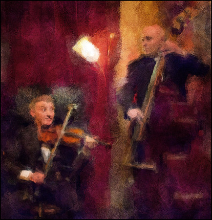 "Lamp Light Serenade. Dorado Schmitt: violin and Renato Gattone; bass at <a href=""http://www.bartofcafe.dk""target=""_blank"">Bartof Cafe</a>, Copenhagen. Photo painted with digital impressionist chalk brush in Corel Painter + texture layers."
