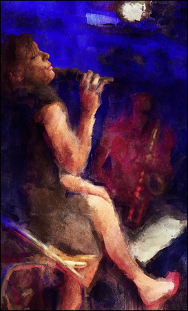 Easy.<br /> Lone Selmer, vocal and Jacob Dinesen, sax at Paradise Jazz, Huset, Copenhagen.<br /> Photo painted with digital sargent brush in Corel Painter + texture layers.