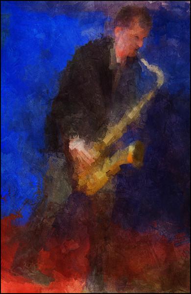 Sax Boost.<br /> John Ellis: sax of Anne Mette Iversen Quartet at Paradise Jazz Club, Copenhagen.<br /> Photo painted with digital sargent brush in Corel Painter + texture layers.