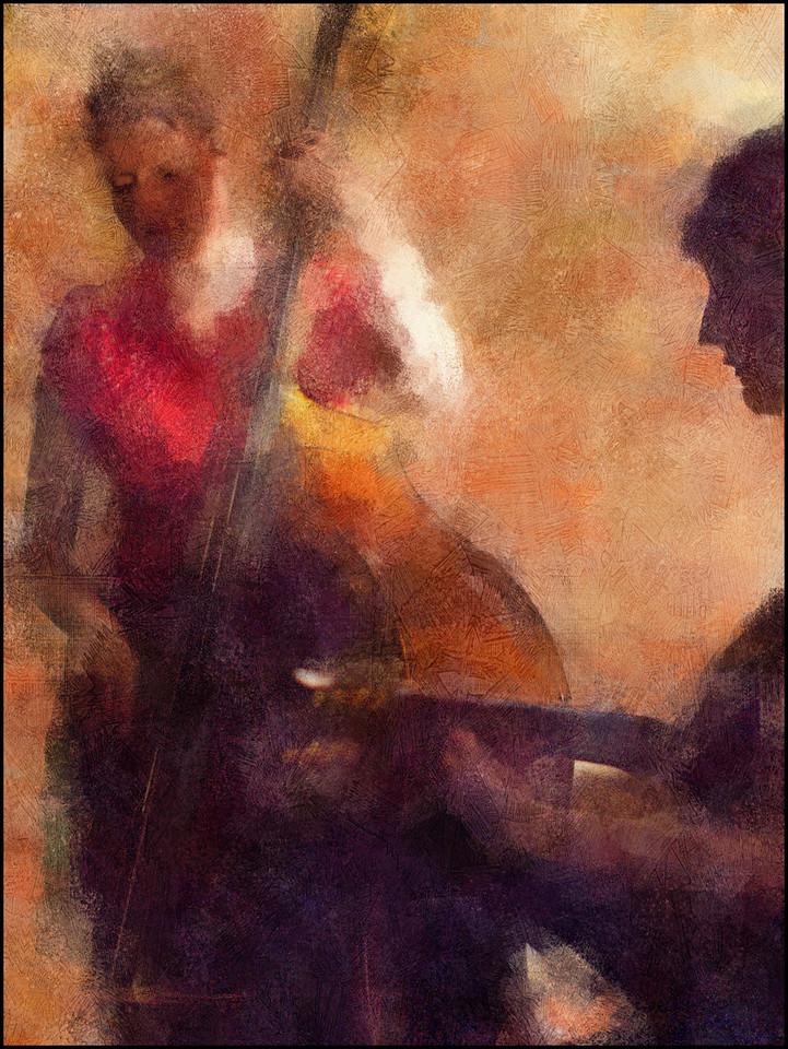 Light Music.<br /> Ida Hvid, bass and Una Skott, guitar of Claire de Lune at Mokariet, Copenhagen.<br /> Photo painted with digital chalk brush in Corel painter + texture layers.