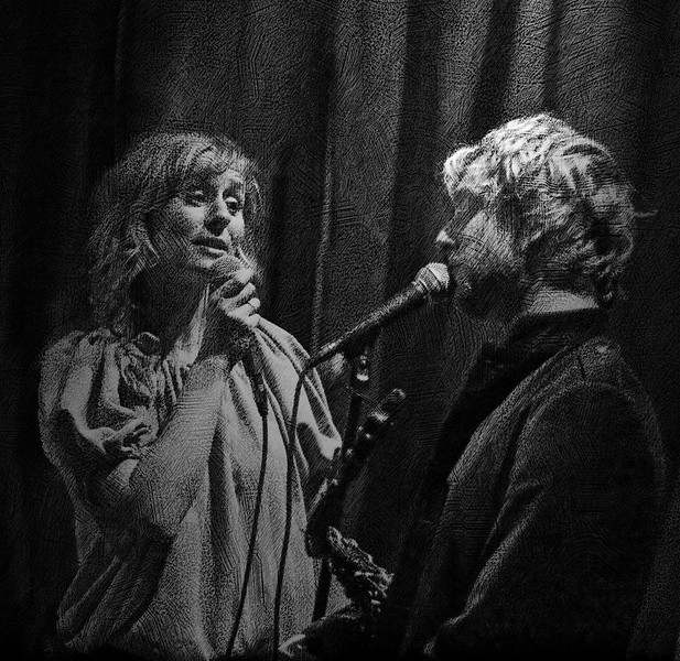 Baby it´s cold outside, black and white.<br /> Vocalist Cathrine Legardh and saxplayer Mads Mathias at Jazzcup, Copenhagen, Denmark.<br /> Black and white photo with added texture.