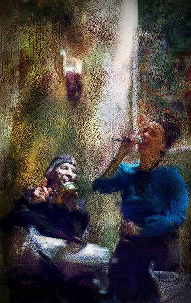 High.<br /> Vocalist Malu Prates with percussionist Alfonso Correa at Fat Tuesday Bar, Copenhagen.<br /> Photo painted with digital smeary oil brush in Corel Painter + texture layers.