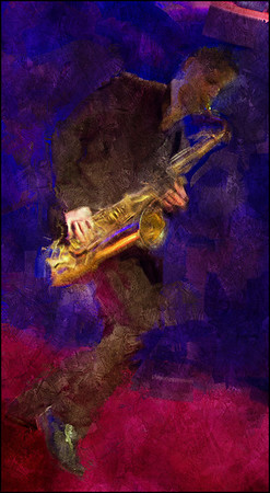 """Dancing Sax. Jan Harbeck: sax at <a href=""""http://www.paradisejazz.dk/""""target=""""_blank"""">Paradise Jazz</a>, Huset, Copenhagen Photo painted with digital impressionist sargent brush in Corel painter + texture layers."""