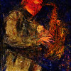 Jitter Sax.<br /> Brodie West: sax of Lina Allemano Four at Koncertkirken, Blågårds Plads, Copenhagen.<br /> Photo painted with digital pencil brush in Dynamic Auto Painter.