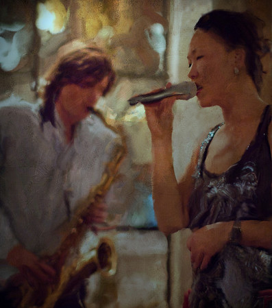 The Last Song.<br /> Jakob Dinesen: sax and Birgitte Soojin: vocal at P.H. Cafeen, Copenhagen.<br /> Photo,painted with digital smeary oil brush in Corel Painter + texture layers.