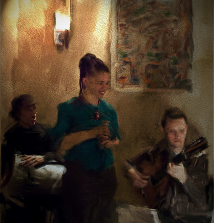 "Intermezzo.<br /> Percussionist Alfonso Correa, vocalist Malu Prates and guitarist Andreas Hatholt of the ""Malu Prates Group"" at the ""Fat Tuesday Bar"", Copenhagen, Denmark.<br /> Photo painted with smeary oil brush in Corel Painter + texture layers."