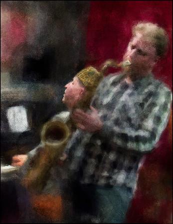 "Rising Sax. Fredrik Lundin: sax and Jan Kaspersen: piano at <a href=""http://www.jazzklubben.dk/jazzcup.asp""target=""_blank"">Jazz Cup</a>, Copenhagen. Photo painted with digital chalk brush in Corel Painter + texture layers."