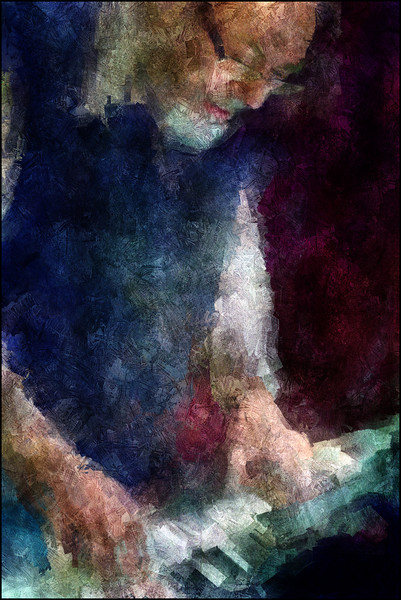 """Steady Hand. Steen Holkenov: piano at <a href=""""http://bartofcafe.dk/""""target=""""_blank"""">Bartof</a> Cafe , Copenhagen. Photo painted with digital impressionist sargent brush in Corel Painter + texture layers."""
