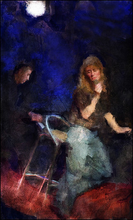 """Leaving the Dark Behind.<br /> Cathrine Legardh: vocal and Francesco Cali: piano at """"Swingin Copenhagen"""", Huset.<br /> Photo painted with digital sargent brush in Corel Painter + texture layers."""
