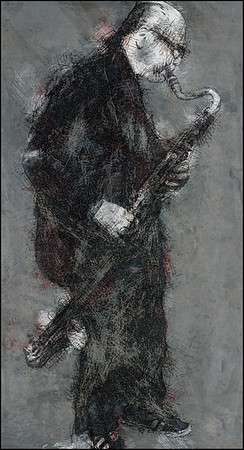 Sture.<br /> Sture Ericson: bass clarinet at Jazz House, Copenhagen.<br /> Photo painted with digital pen in PostWorkshop + Texture layers.