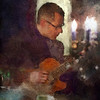 "Tender Bar Guitar.<br /> Tao Højgaard: guitar at ""Kind of Blue Bar"", Copenhagen.<br /> Photo painted with digital impressionist chalk brush in Corel Painter + texture layers."
