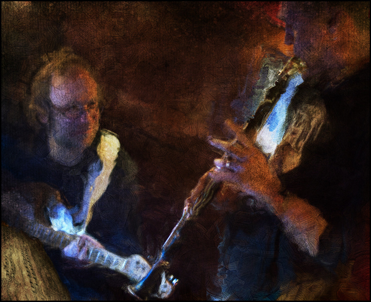 Jazz Angle.<br /> Mads Thorsen: guitar and Chris Tanner: clarinet at Bobi Bar, Copenhagen, Denmark.<br /> Photo painted with digital smeary oil brush in Corel Painter + texture layers.