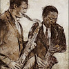 Sax Brothers.<br /> Eric Alexander and Vincent Herring: sax at Paradise Jazz Club, Copenhagen.<br /> Photo painted with digital sepia pen in Dynamic Auto Painter + texture layers.