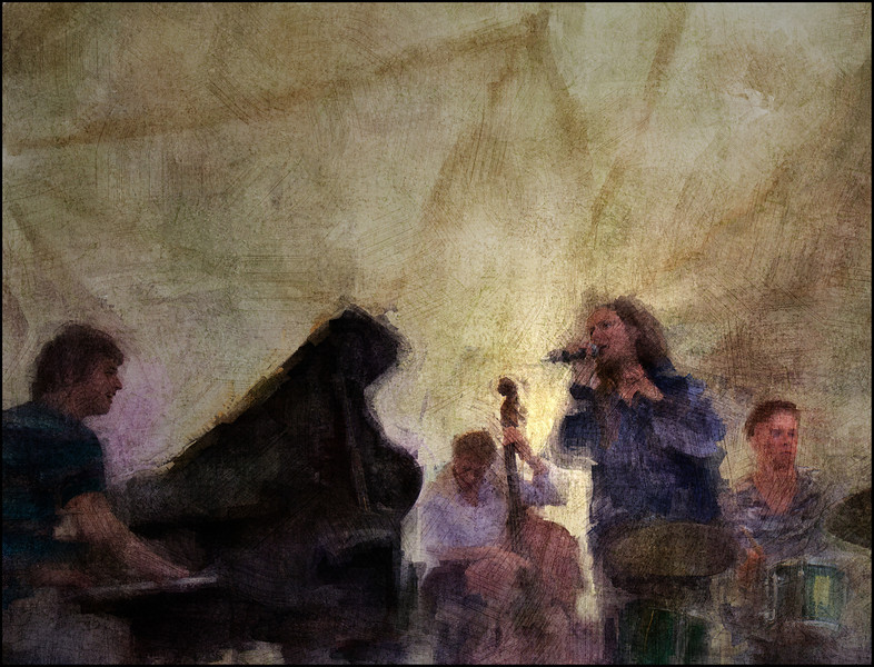 Light Tent.<br /> MGK  Jazz Quartet: Markus Elkjer:piano - Bartal Larsson: bass - Sarah Engel: vocal - Rasmus Aakjær: drums at Haveselskabet, Copenhagen Jazz festival 2011.<br /> Composite photo painted with digital sargent brush in Corel Painter + texture layers.