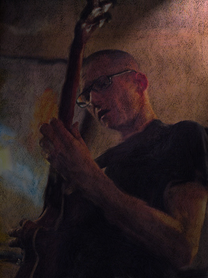 """Guitar Tao.<br /> Guitarist Tao Højgaaard at """"Cafe Svejk"""", Copenhagen,Denmark.<br /> Photo painted with digital smeary oil brush in Corel Painter + texture layers."""