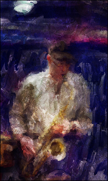 John Tchicai: sax at Paradise Jazz, Huset, Copenhagen.<br /> Photo painted with digital sargent brush in Corel Painter + texture layers.
