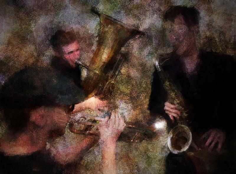 "Brass Joint.<br /> Lakris Band: Rasmus ""Termo"" Lundsgaard: trumpet - Nikolaj Thyssen Dam: tuba  - Kalle Krüger: sax at Ingolfs Kaffebar Copenhagen.<br /> Photo painted with digital chalk brush in Corel Painter + texture layer."