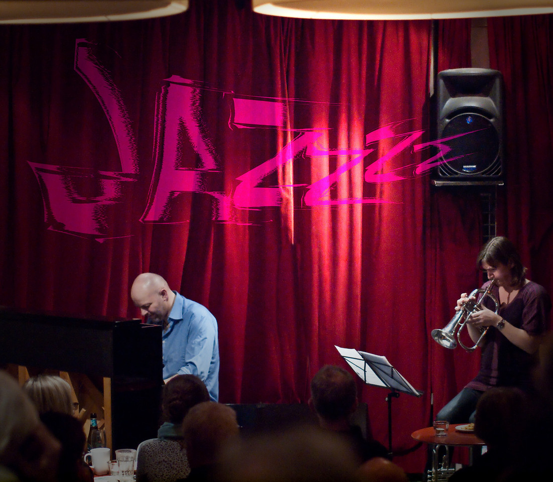 "Jazzzz.<br /> Piano: Henrik Gunde and trumpet: Maj Berit Guassora at ""Jazz Cup"", Copenhagen, Denmark.<br /> Photo with added text."