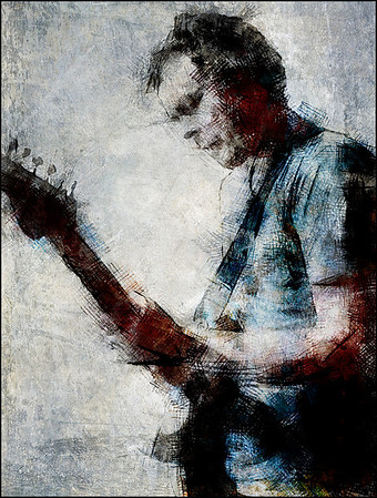 Brighter Blue.<br /> Jacob Bro: guitar at Kind of Blue bar, Copenhagen.<br /> Photo painted with digital scratch pen in Dynamic Auto Painter + texture layers.