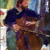 "Cello. Tommy Andersson: cello at Fisk Cafe, a <a href=""http://barefoot-records.com/""target=""_blank"">Barefoot Records</a> venue, Copenhagen. Photo painted with digital smeary oil brush in Corel Painter + texture layers."