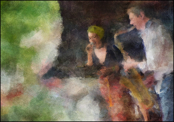 Black and Green.<br /> Malu Prates: vocal and Lars Albertsen: sax at Røde Roses Kaffebar during the Copenhagen 2012 Jazz Festival.<br /> Photo painted with digital impressionist chalk brush + texture layers.