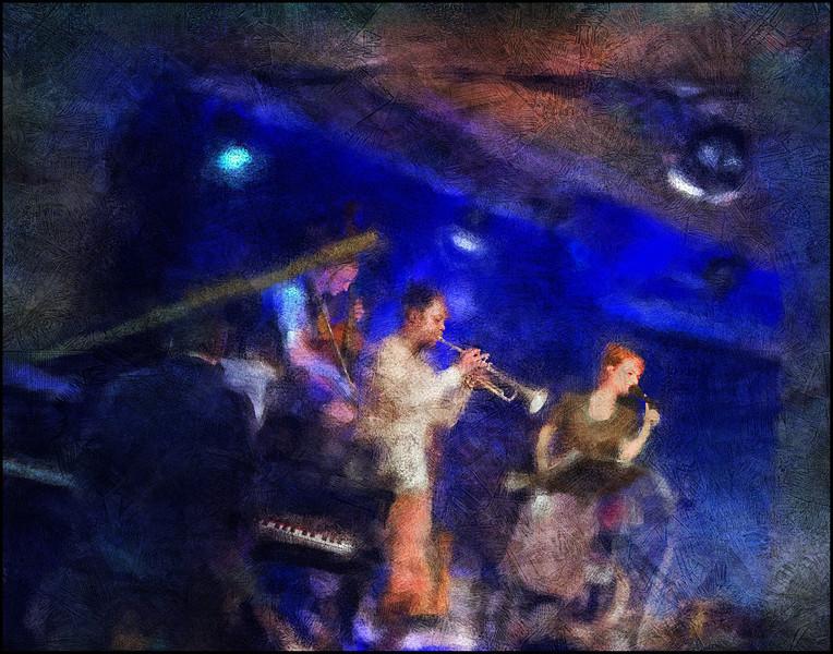 "Blue Room. Nikolaj Hess: piano - Morten Ramsbøl: bass - Ambrose Akinmusire: trompet - Mette Juul: vocal at <a href=""http://www.jazzklubben.dk/jazzcup.asp2""target=""_blank"">Paradise Jazz</a>, Huset, Copenhagen. Composite photos painted with digital impressionist chalk brush in Corel Painter + texture layers."