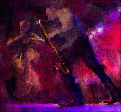 """The Golden Scepter. Rudi Mahall: bass clarinet and Adam Melbye: bass at <a href=""""http://www.husetsteater.dk""""target=""""_blank"""">Husets Teater</a> - Musiksyndikatet Congo - Copenhagen. Composite photos painted with digital sargent brush in Corel Painter + texture layers."""