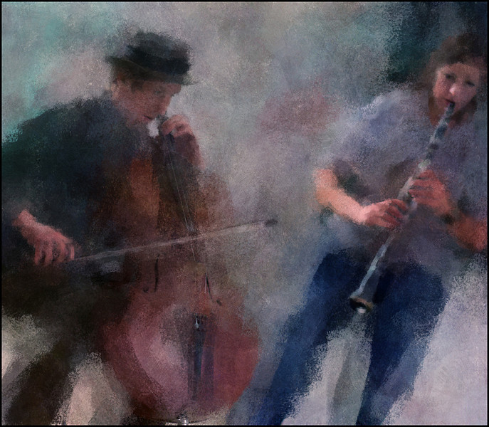 In the Music.<br /> Tristan Hornsinger: cello and Maria Faust: sax at Charlottenborg, Copenhagen.<br /> Photo painted with digital impressionist chalk brush in Corel Painter + texture layers.