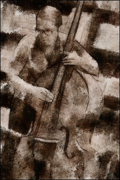 Joel Illerhag: bass at Tranquebar bookstore, Copenhagen.<br /> Photo painted with digital pen brush in Dynamic Auto Painter.