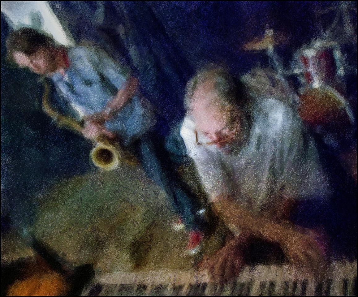 Handy.<br /> Butch Lacy: piano and Jesper Løvdahl: sax at KafCaféen; Copenhagen Jazz Festival 2011.<br /> Photo painted with digital impressionist chalk brush in Corel Painter + texture layers.