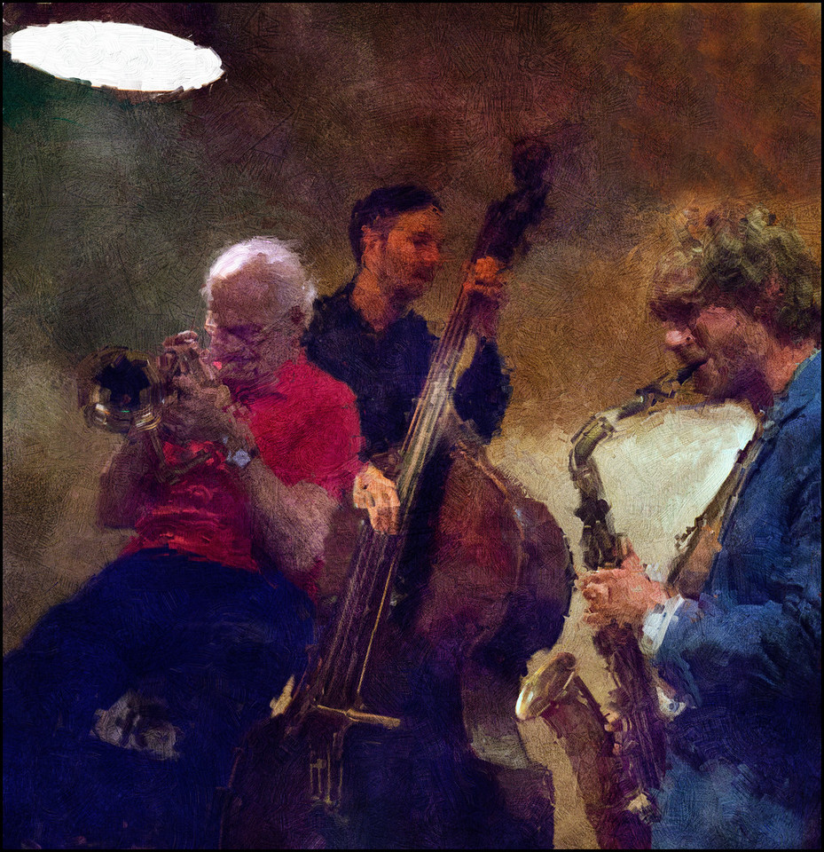 Mr. Red and Mr. Blue.<br /> Valdemar Rasmussen: flugelhorn - Andreas Møllerhøj: bass and Mads Mathias: sax at Cafe Mæt, Copenhagen.<br /> Photo painted with digital impressionist calk brush in Corel Painter + texture layers.