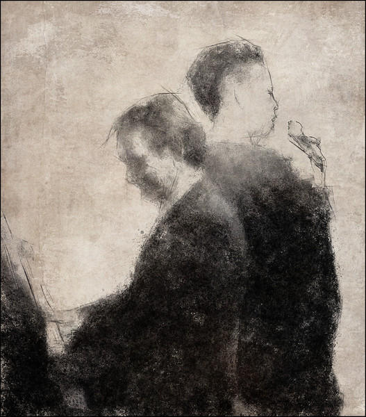 Back to Back.<br /> Phil Parnell: piano and Lillian Boutté: vocal at Huset, Copenhagen.<br /> Photo painted with digital graphite brush in PostworkShop + texture layers.