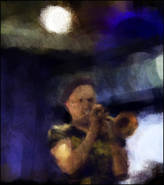 "Tobias Wiklund, trumpet at <a href=""http://www.paradisejazz.dk/""target=""_blank"">Paradise Jazz</a>, Huset, Copenhagen. Photo painted with digital impressionist chalk brush in Corel Painter + texture layers."