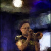"Tobias Wiklund, trumpet at <a href=""http://www.paradisejazz.dk/""target=""_blank"">Paradise Jazz</a>, Huset, Copenhagen. Photo painted with digital impressionist chalk brush in Corel Painter + texture layers."