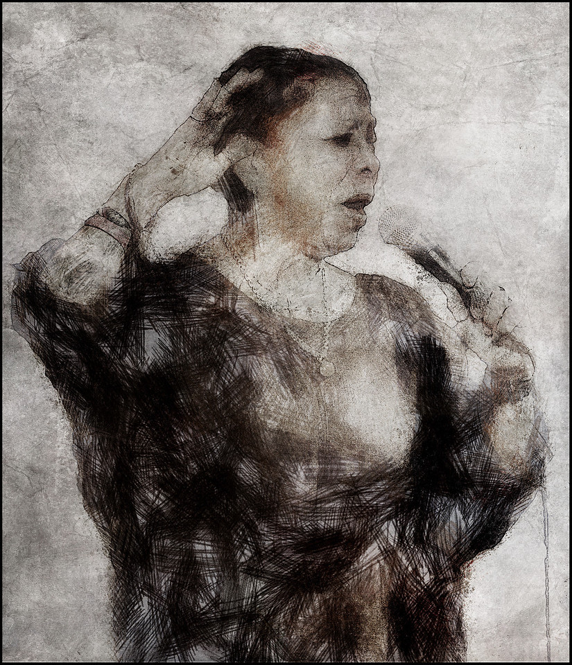Raise.<br /> Lillian Boutté: vocal at Huset, Copenhagen.<br /> Photo painted with digital scrtch pen  in PostworkShop + texture layers.