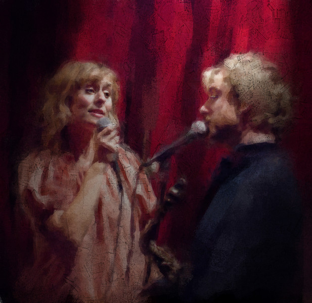 Baby,it´s cold outside, color.<br /> Vocalist Cathrine Legardh and saxplayer Mads Mathias at Jazzcup, Copenhagen, Denmark.<br /> Photo painted with digital impressionist chalk brush + texture layers.
