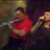One Flute Samba.<br /> Camilla Simplicio, vocal and Poul Erik Louw, flute of JazzaBrasil at Bartof Cafe, Copenhagen.<br /> Photo painted with digital impressionist chalk brush in Corel Painter + texture layers.