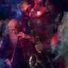 Infight.<br /> Hugo Rasmussen: bass and Jakob Dinesen: sax at Ingolfs Kaffebar, Copenhagen.<br /> Photo painted with digital sargent brush in Corel Painter + texture layers.